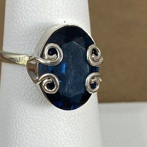Gem Emporium Jewelry - Blue Sapphire 925 Sterling Silver Size 6 Ring